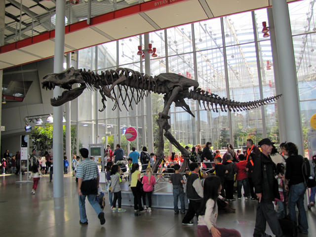 A Tyrannosaurus Rex greets the visitors at the entrance