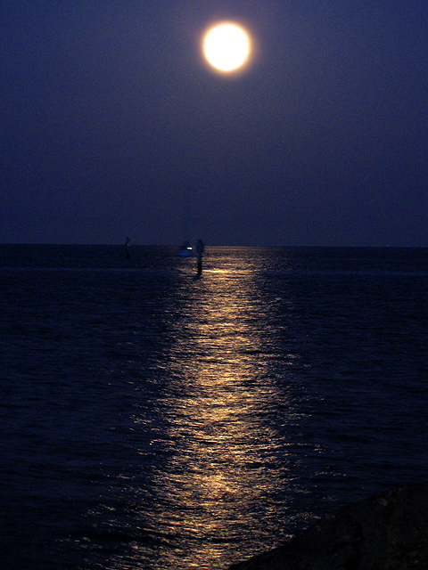 supermoon over water