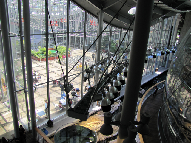 Looking down on the glass enclosed plaza