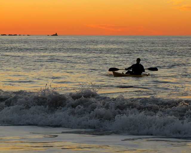 Kayaking off Baker Beach at Sunset