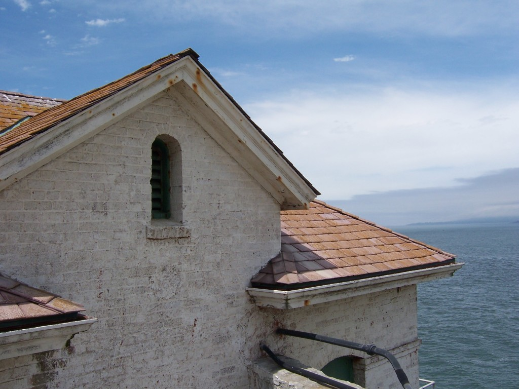 Lighthouse building. Off on the right on the horizon, Point Reyes is visible. Photo by Lastech