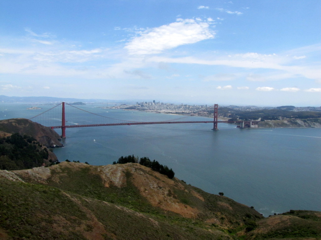 The Golden Gate Bridge and the San Francisco skyline from Hawk Hill. Photo by Rudha-an