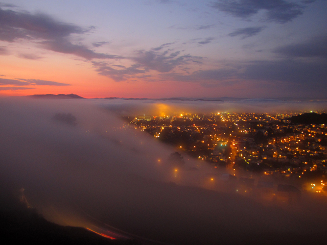 And to top it all off, we have watched Karl The Fog roll in over The City at sunset
