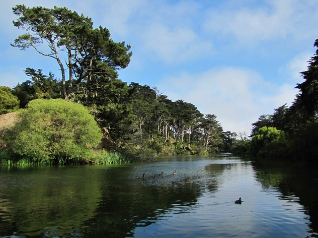 Blue sky with wisps of fog over Stow Lake