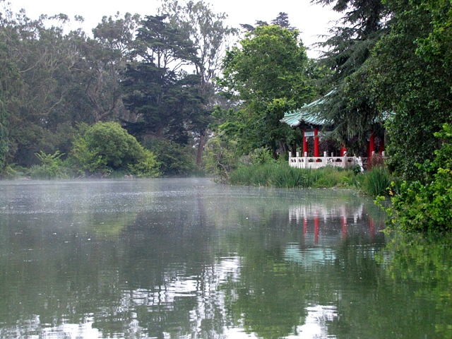 The Chinese Pavillion and mist on the water