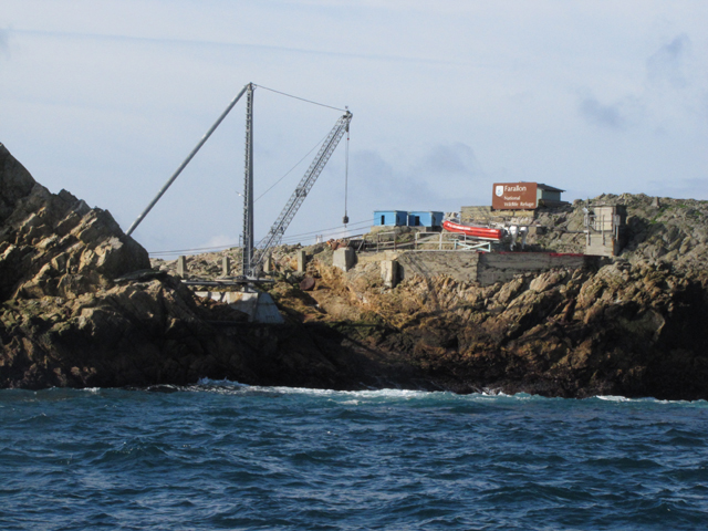 With no natural harbor, this crane is the only way on or off the island. It's used to pick up a small launch from the water or set one down in the water.