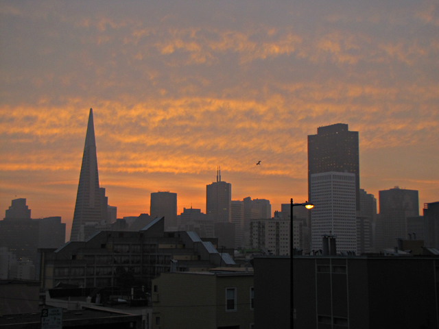 View of the Transamerica building from a hilltop by Rudha-an